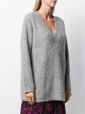 V- NECK RIBBED OVERSIZED PULLOVER