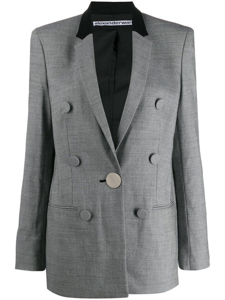 SINGLE BREASTED PEAKED LAPEL JACKET WITH LEATHER