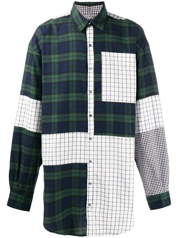 OVERSIZED PATCHWORK COTTON DOUBLE SHIRT