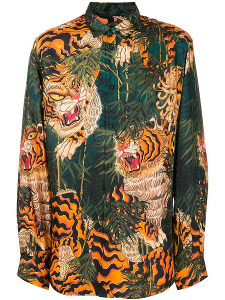TIGER PRINT LONG SLEEVE SHIRT