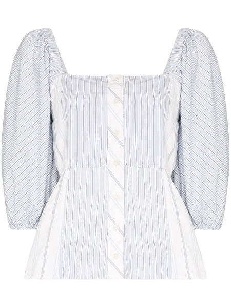 SQUARE NECK STRIPED BLOUSE