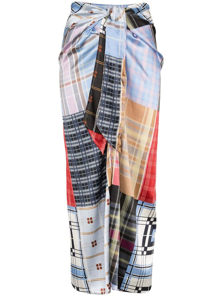 CHECK PATCHWORK SKIRT