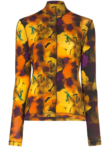 FLORAL ROLLNECK PRINT TOP LEMON