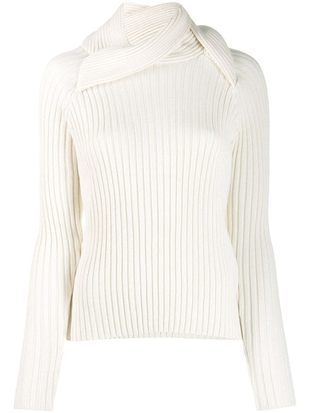 SNAIL COLLAR TURTLENECK KNIT-WHITE
