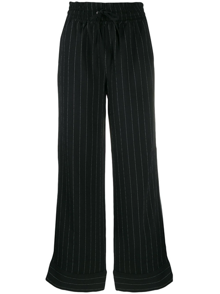 PINSTRIPED WIDE-LEG PANTS