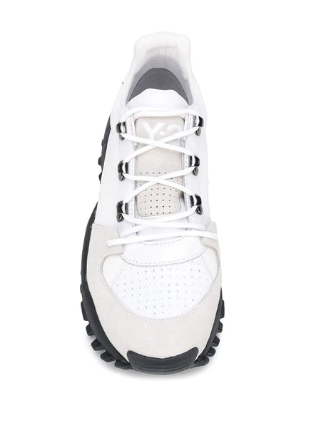 Y-3 KYOI TRAIL LACE UP LOW TOP SNEAKERS BIANCO