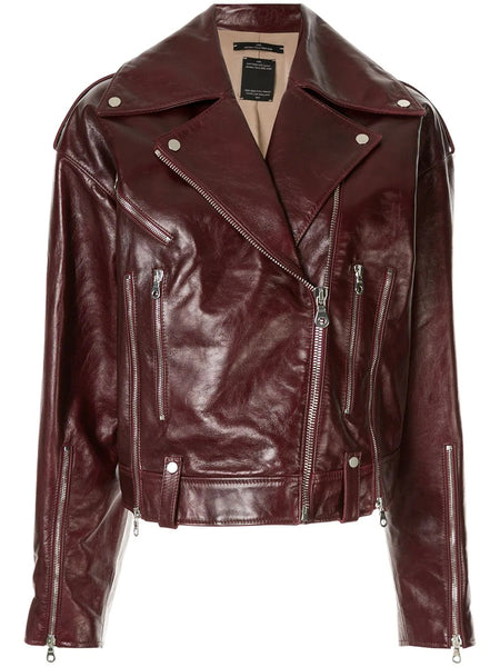 BIKER LEATHER JACKET 50 BURGUNDY
