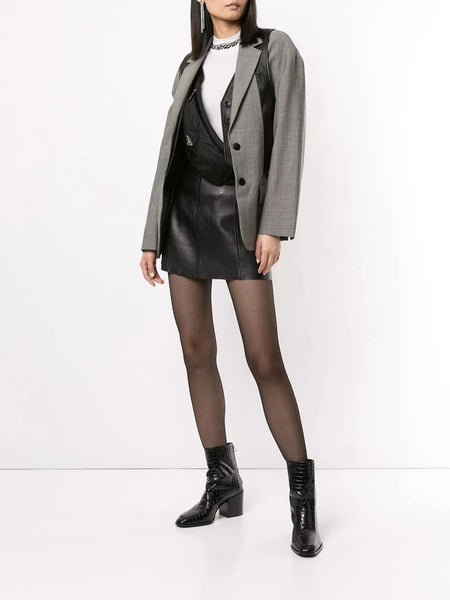 MOHAIR BLAZER WITH INTEGRATED LEATHER VEST