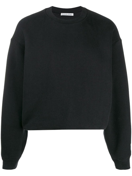 DENSE FLEECE BUBBLE SWEATSHIRT  CUT AND SEW BLACK