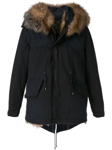 FUR-TRIMMED PARKA COAT  MIDNIGHT BLUE