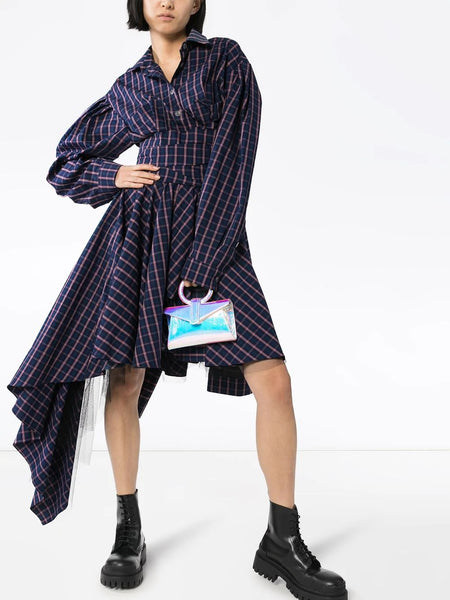 LANTERN SLEEVE ASYMMETRIC MAXI SHIRT DRESS