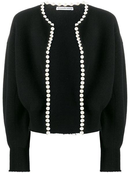 CROPPED PEARL EMBELLISHED CARDIGAN