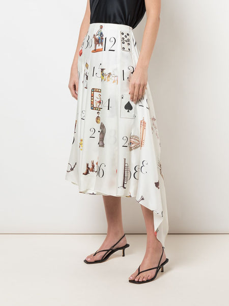 PRINTED NUMBERS PLEATED MIDI SKIRT