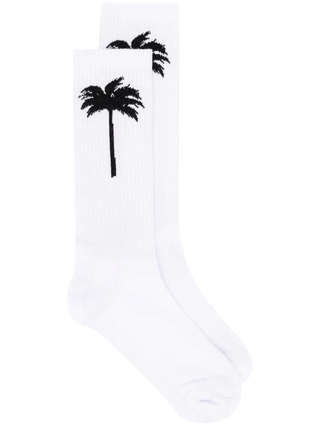 PALM SOCKS WHITE BLACK