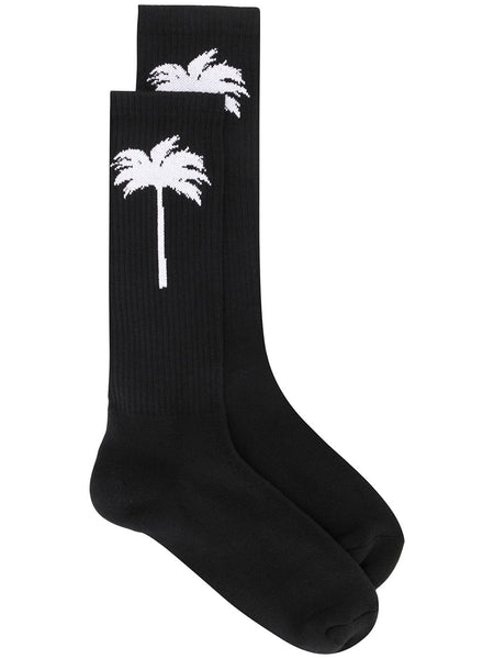 PALM SOCKS BLACK WHITE