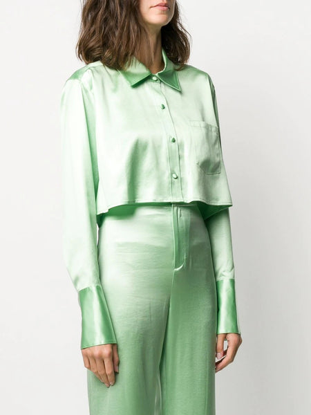 SHINE WASH AND GO CROPPED SATIN BLOUSE