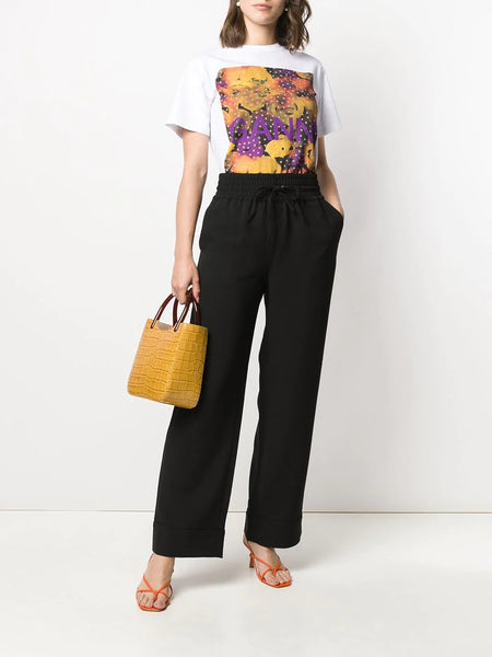 WATERCOLOUR FLORAL PRINT T-SHIRT LEMON