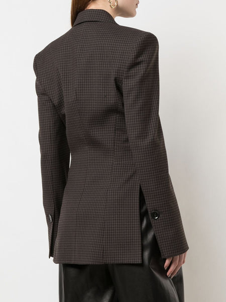 CHECKED CUT OUT PANEL ASYM BLAZER