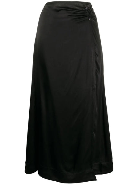 SPLIT LEG SATIN SKIRT