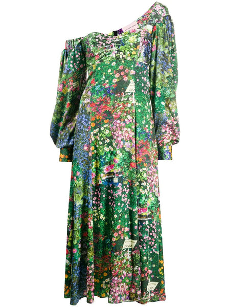 PRINTED LANTERN SLEEVE RUSHED FRONT MAXI GOWN
