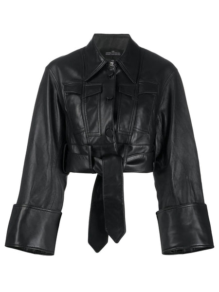LEATHER SPLIT AND STITCH JACKET