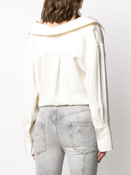 CROPPED OFF-THE SHOULDER SHIRT WHT