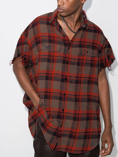 PLAID PATTERN SHORT SLEEVE SHIRT