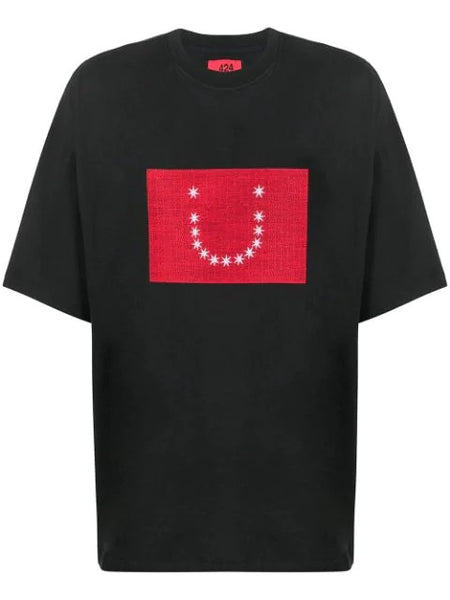 EMBROIDERED STARS BOXY FIT PRINTTED T-SHIRT