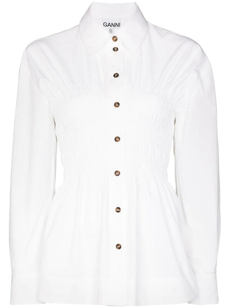 RUCHED WAIST BUTTONED BLOUSE