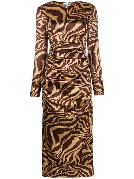 TIGER PRINT RUCHED MIDI DRESS