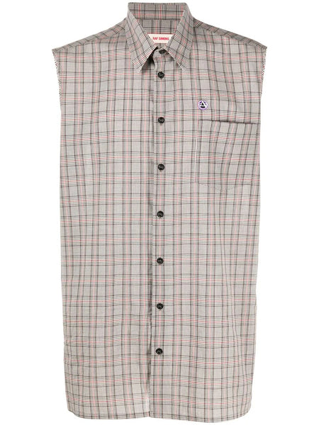 FRAYED ARMHOLES CHECKED SHIRT