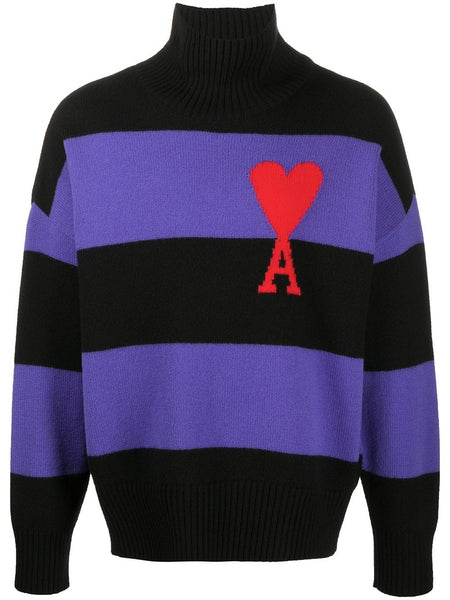 AMI DE COEUR OVERSIZE FUNNEL NECK STRIPED JUMPER PUR