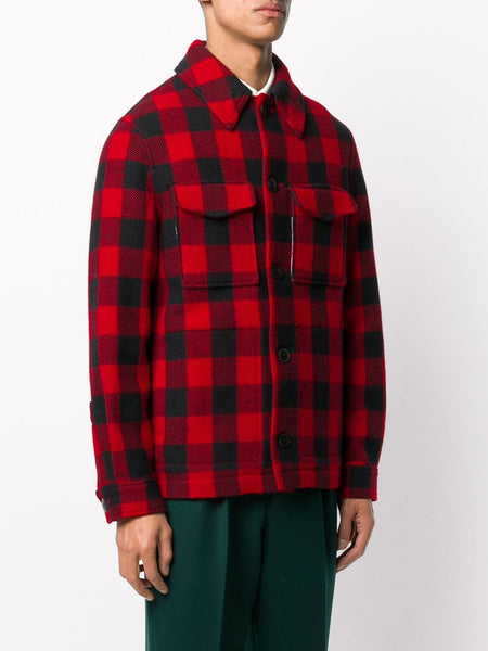 DRY WOOL CHECK BUTTONED JACKET RED