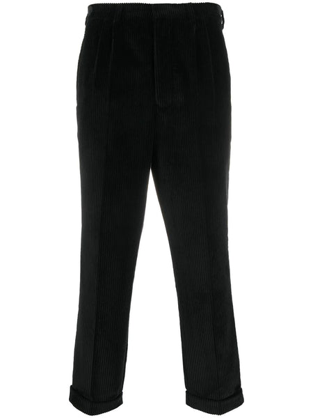 PLEATED CARROT FIT TROUSERS BLK
