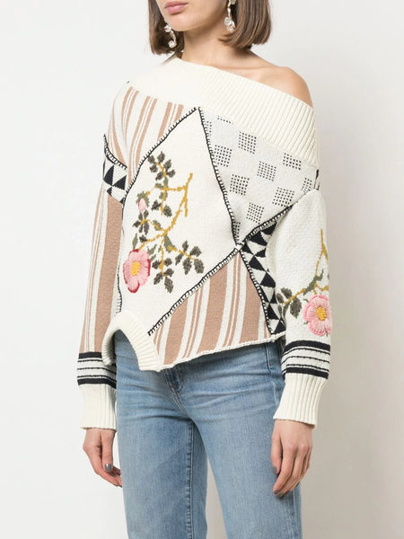 UPSIDE DOWN FLORAL INTARSIA PATCH JUMPER