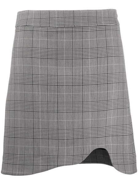 CHECKED CUT OUT HEM SKIRT