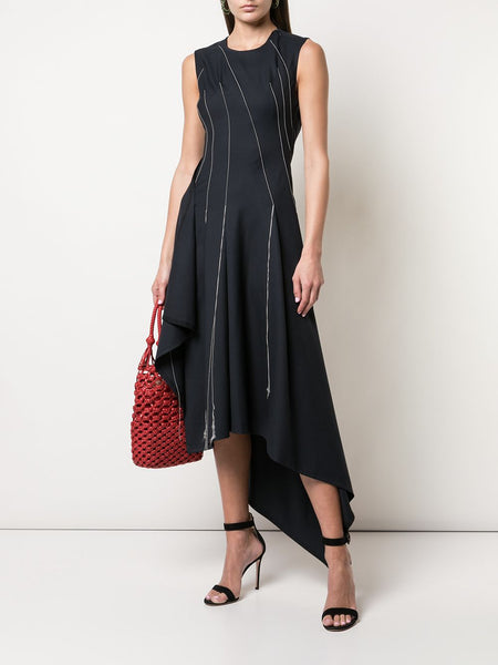 FALLING THREADS ASYMMETRIC DRESS