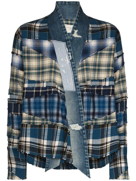BLUE MIXED DENIM PLAID KIMONO JACKET