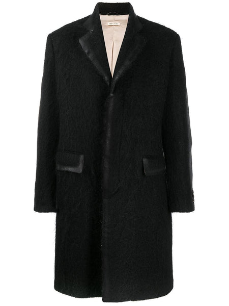 CONTRAST TRIM SINGLE BREASTED COAT BLK