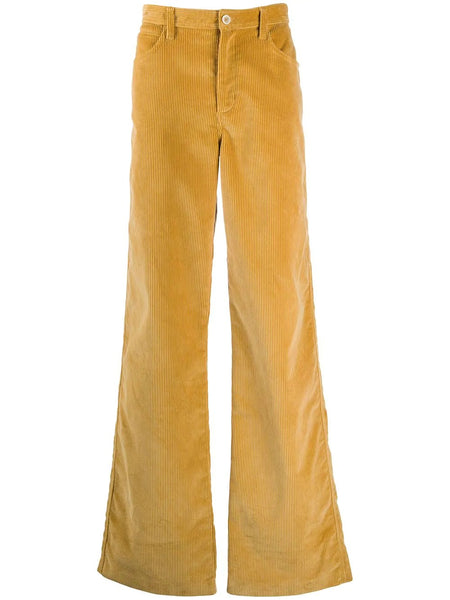 FLARED LEG CORDUROY TAILORED TROUSERS YLW