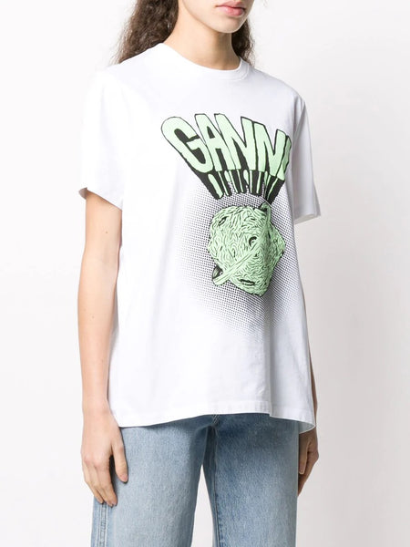 GANNI GRAPHIC PRINT LOGO T-SHIRT