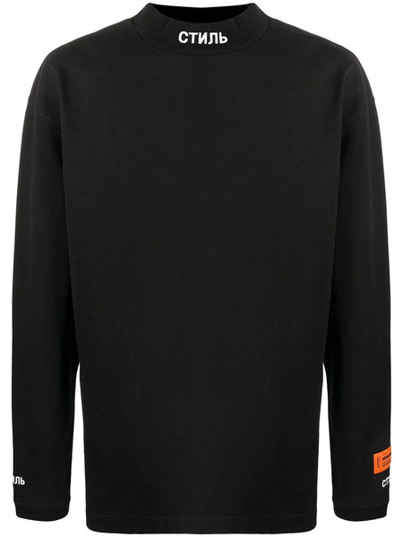 EMBROIDERED SWEATSHIRT TURTLENECK CTNMB BLK WHT