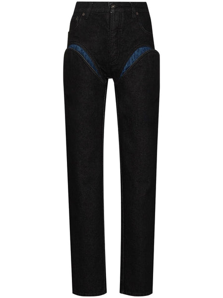 CUT OUT STRAIGHT LEG JEANS NVY