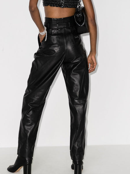 HIGH WAISTED BANANA LEATHER TROUSERS BLK