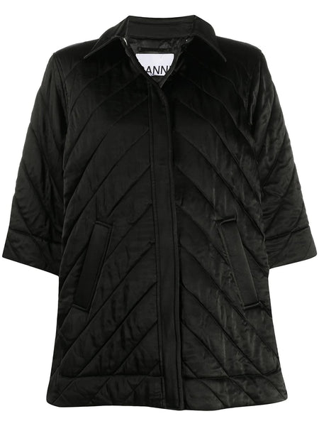 SATIN HALF SLEEVES QUILTED JACKET
