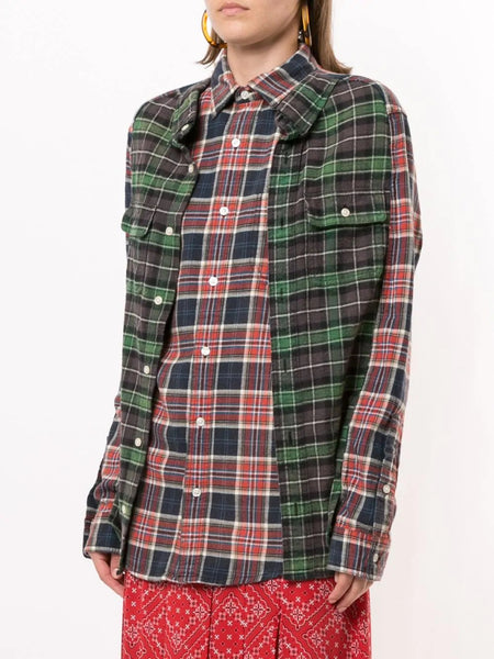 DOUBLE RECONSTRUCTED PLAID SHIRT