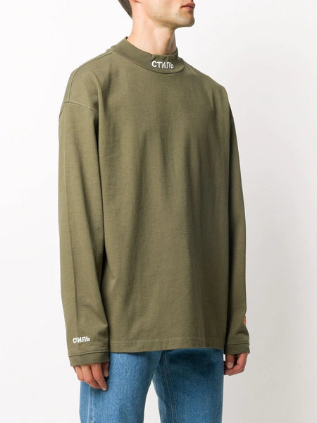 EMBROIDERED SWEATSHIRT TURTLENECK CTNMB OLV