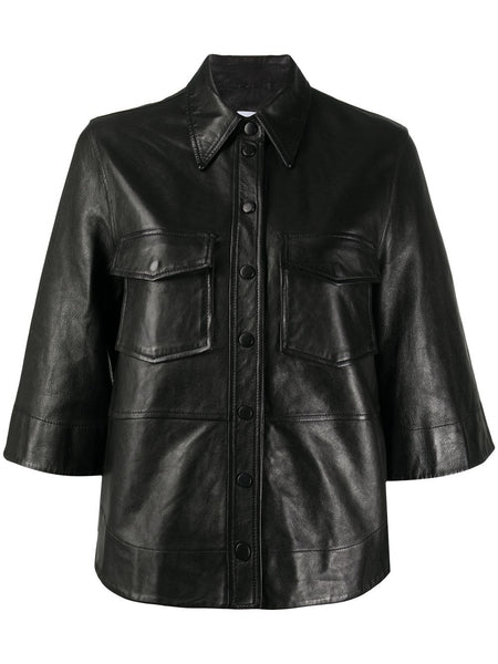 FAUX LEATHER BUTTON UP SHIRT BLACK