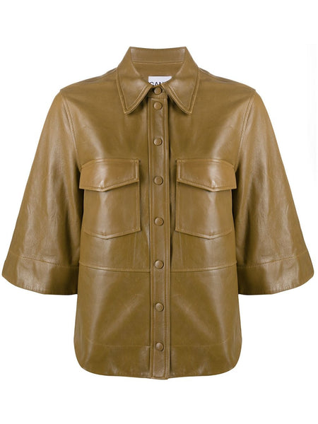 FAUX LEATHER BUTTON UP SHIRT BROWN
