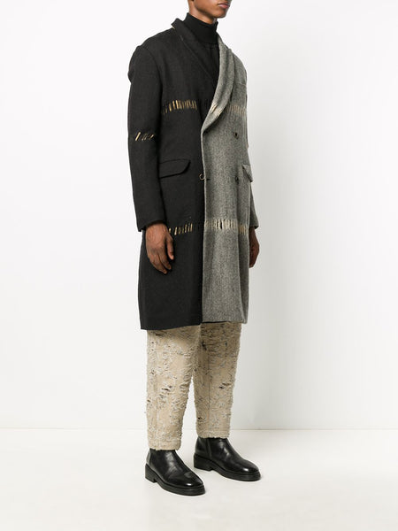 RICCARDO COLOUR BLOCK DISTRESSED COAT TAN